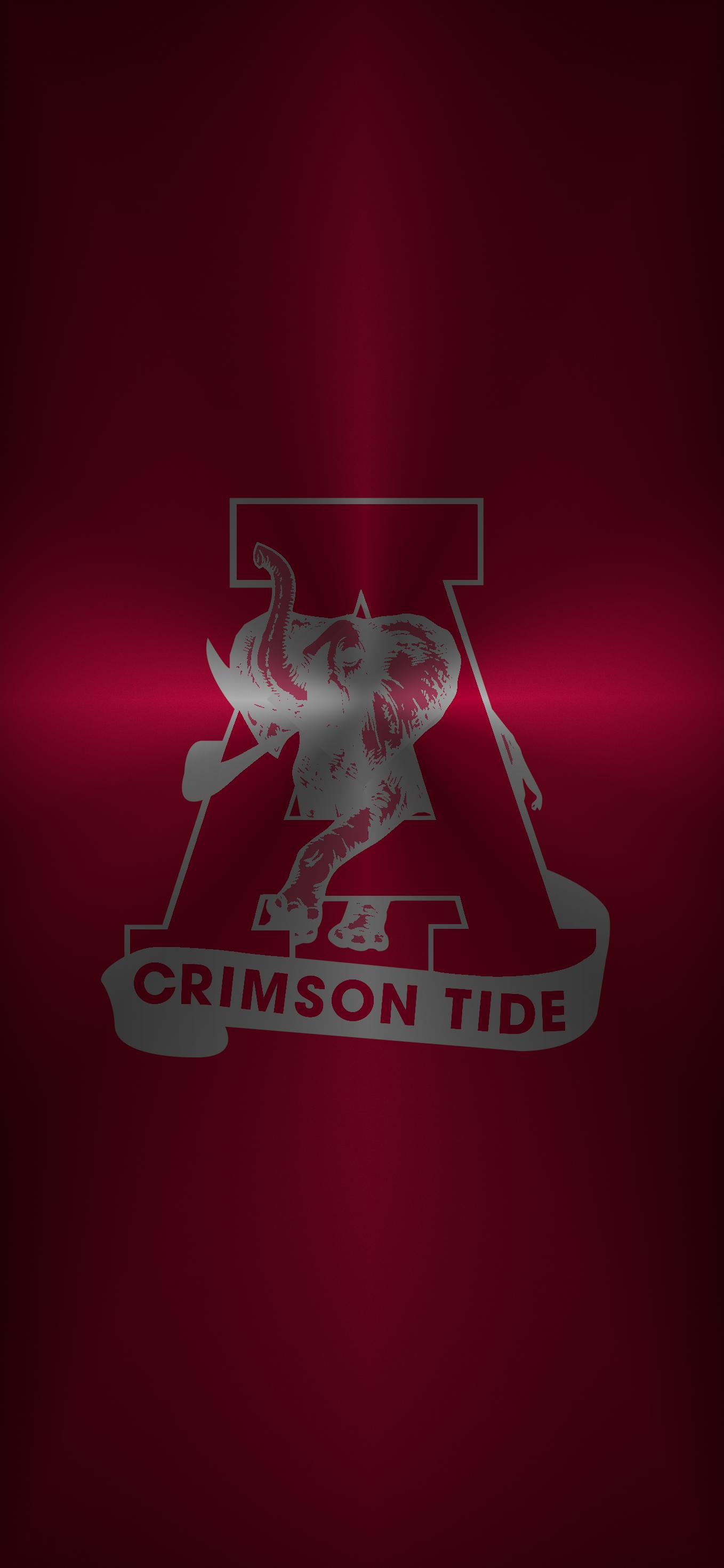 Alabama Crimson Tide Football logo iPhone wallpaper Metal