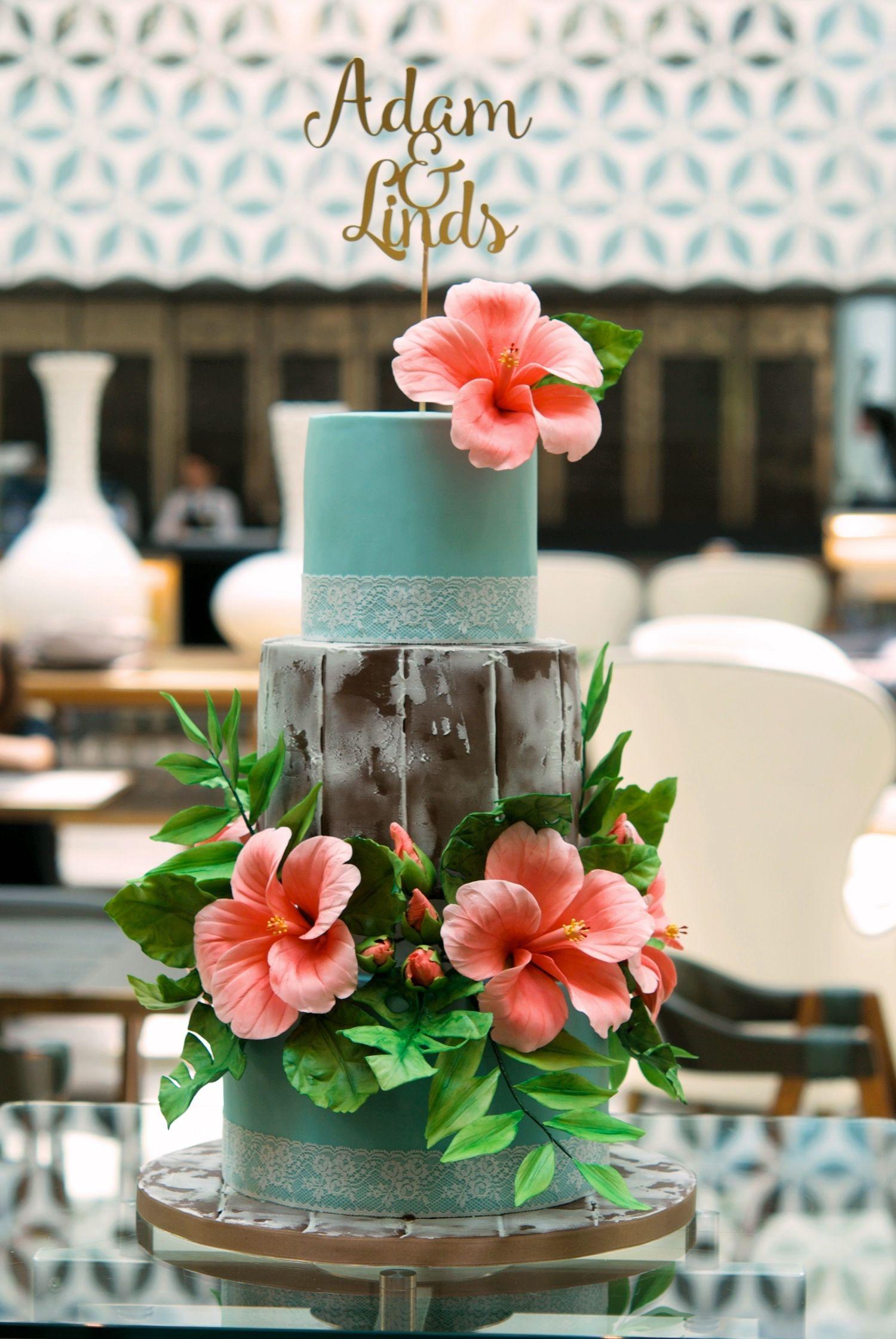 Tropical Wedding Cake #tropicalwedding #weddingcake # ...