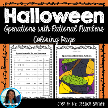 Operations with Rational Numbers Halloween Coloring Page