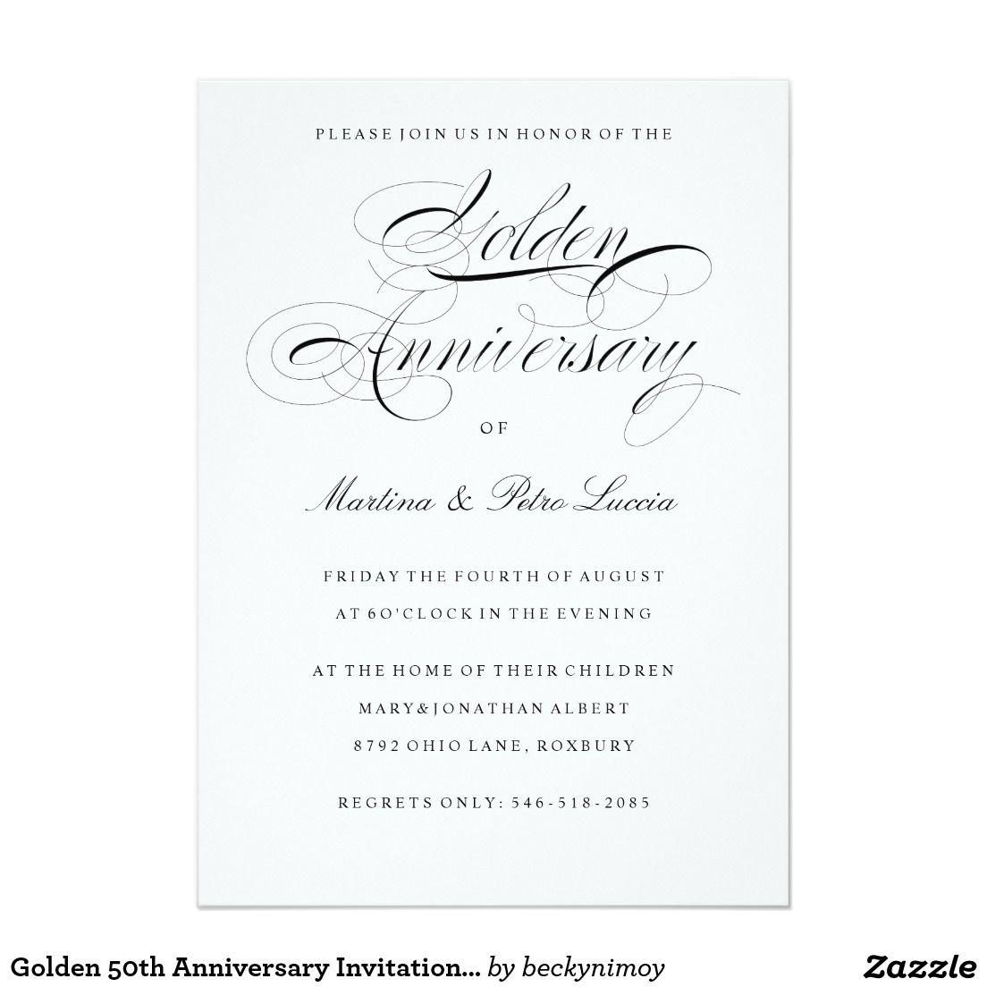 Golden 50th Anniversary Invitation Black White Zazzle