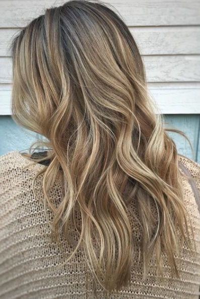 Lived In Rooty Dark Blonde Balayage On Long Hair Is An Easy Transition From Winter To Spring Or Summer Balayage Long Hair Dark Blonde Balayage Blonde Balayage