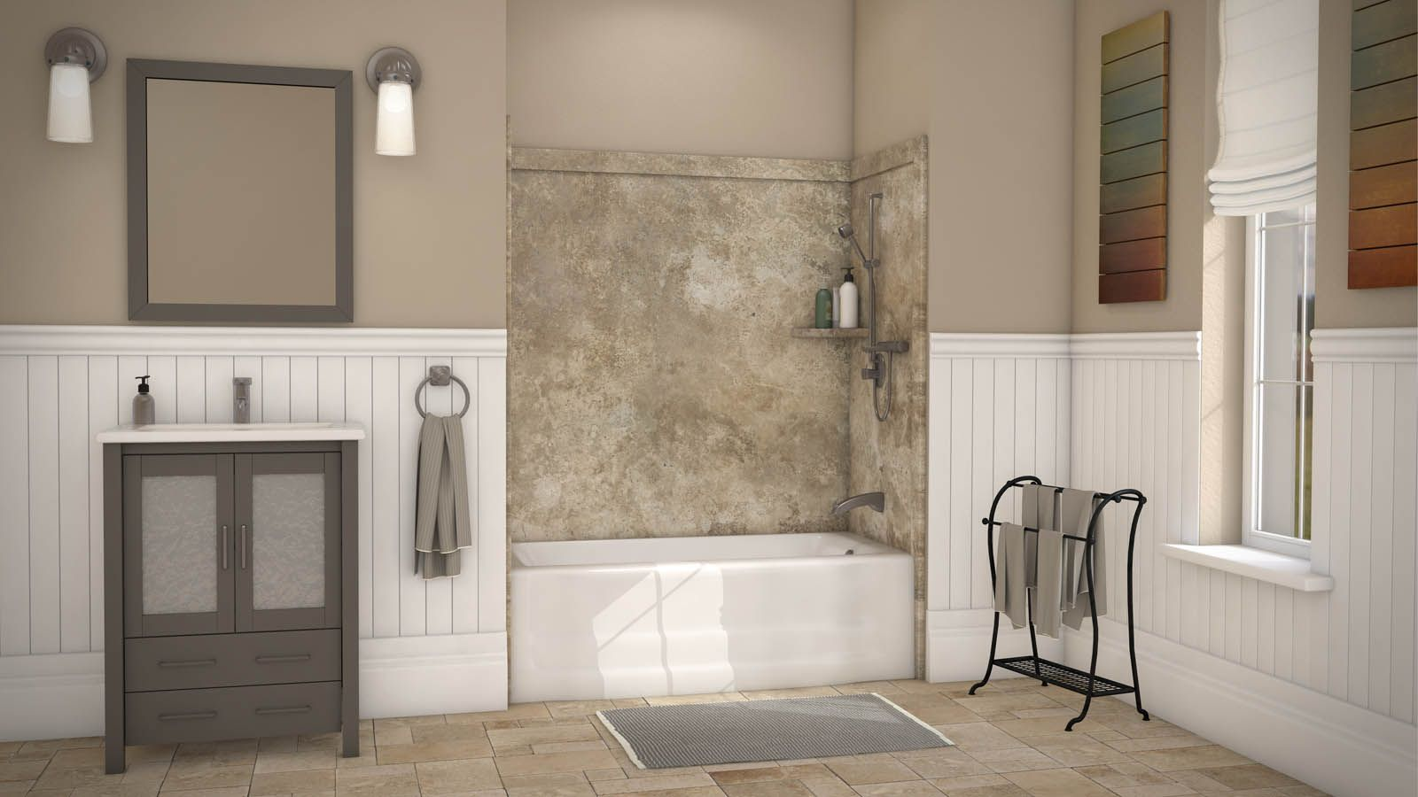 Give Your Bathroom A Face Lift With The Look Of Natural Stone This Is One Of Our Tub Surrounds In The Color Mocha Traverti Bath Surround Bath Kit Stone Bath