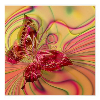 butterfly poster | Zazzle.com | Butterfly canvas, Red ...