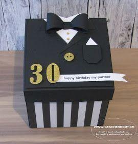 Geschenkbox Explosionsbox Überraschungsbox Anzug #geschenkboxbasteln
