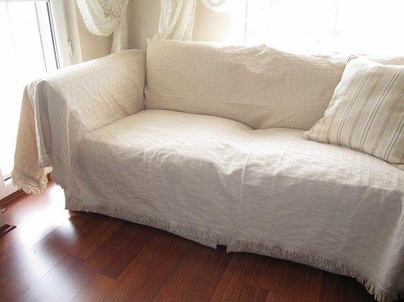Large Sofa throw covers rectangle tassel ivorycouch coverlet