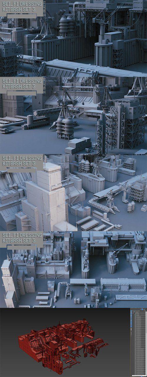 Scifi dressing kitbash set 3 Low-poly 3D model   Heroturko