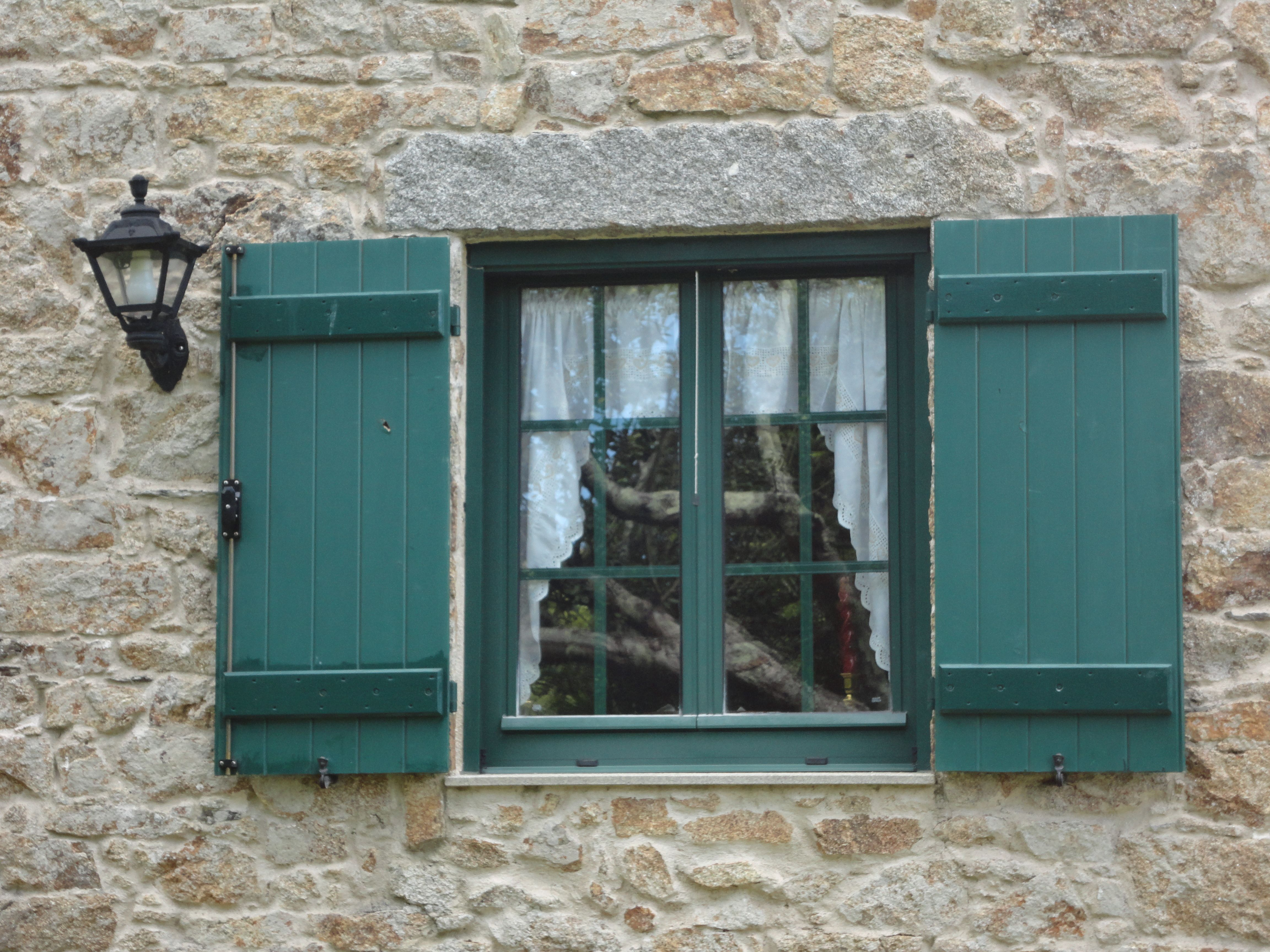 Window of my parents' house in Cervás.  Built by my grandfather and great-uncles, it is almost 100 yrs. old  Love that apple tree you see reflected on the window - I used to climb it!  We all had a special tree to climb that we claimed our own - this one was mine =)