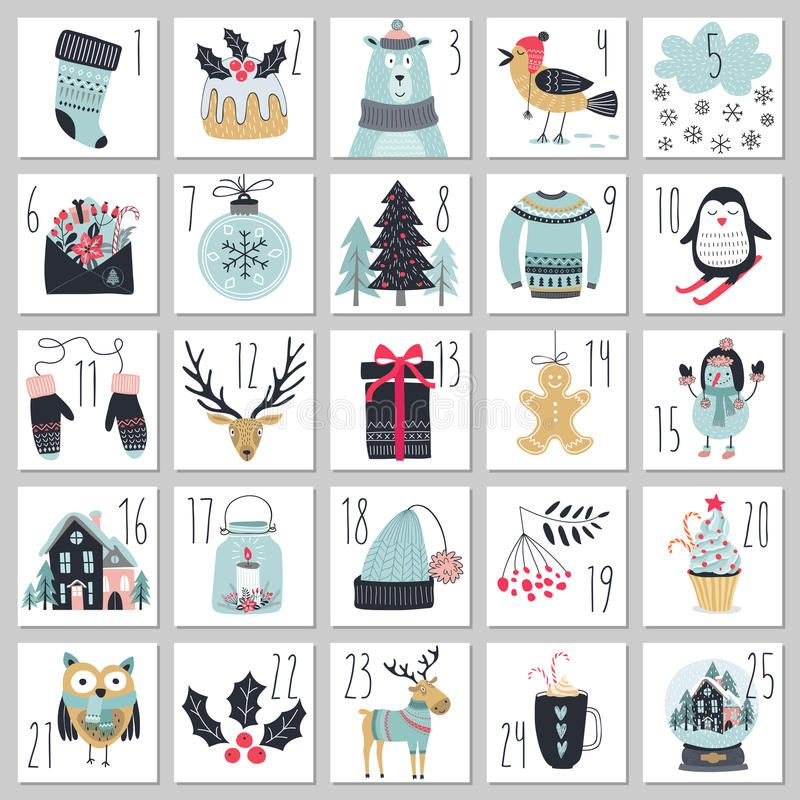 Christmas Advent Calendar Hand Drawn Style Vector Illustration