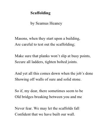 Nurturemoms About People In Love Growing Up Together Seamus Heaney Scaffolding