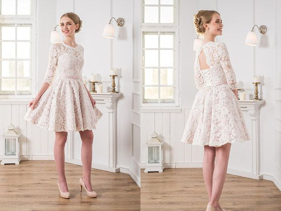 Sweet long sleeves dress lace applique new design short prom