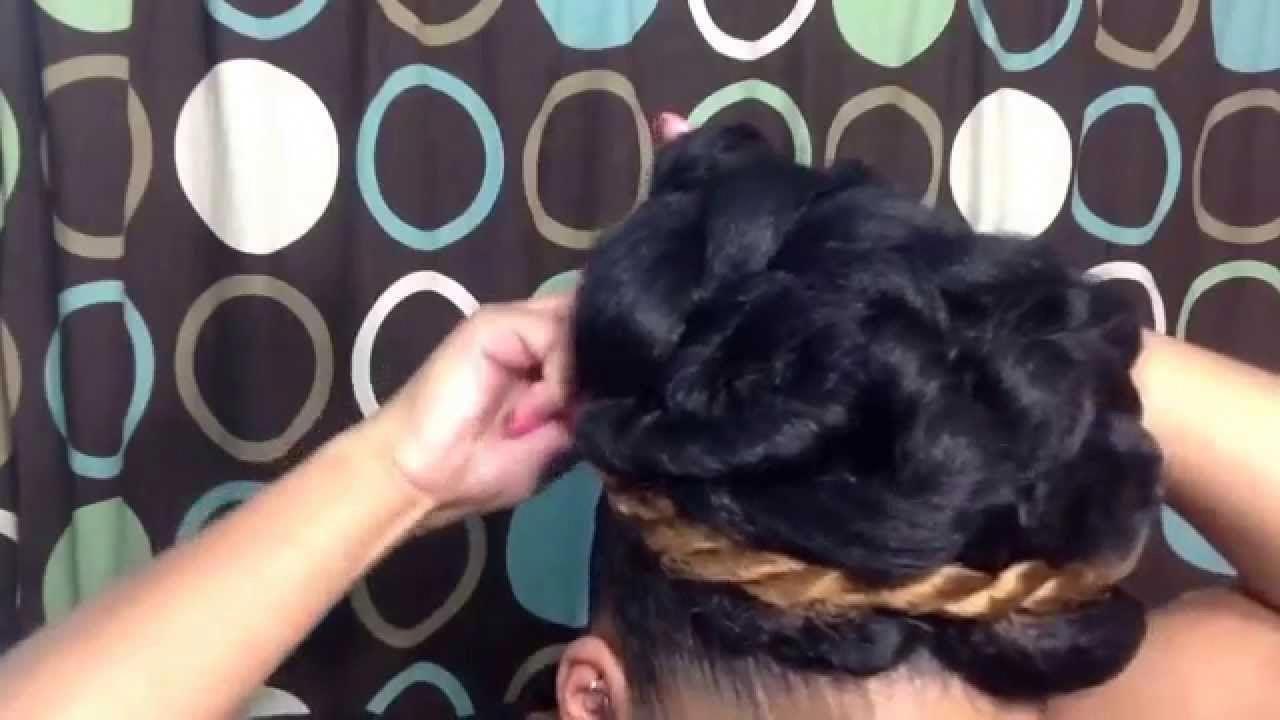 Natural hairstyle tutorial elegant goddess bun updo using braiding