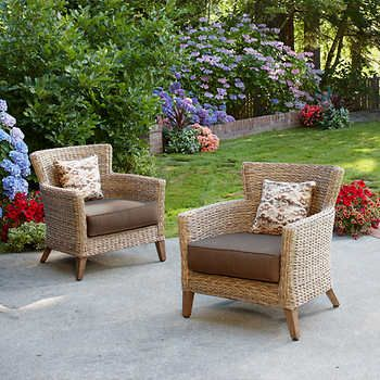 Faux Seagr Woven Chairs From Brown Jordan Studio Outdoor Patio Designs Seating