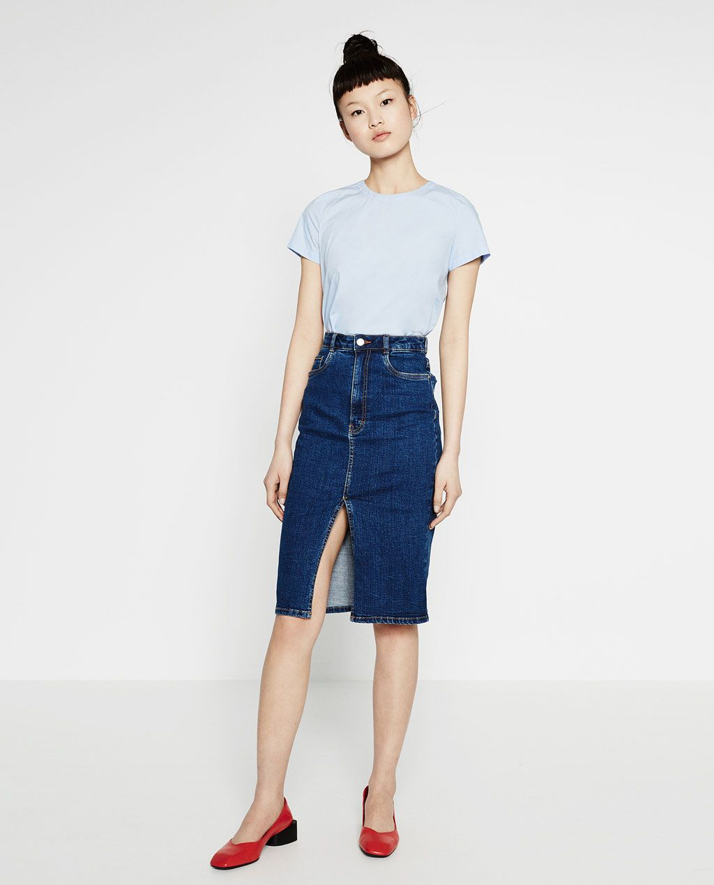 DENIM MIDI SKIRT-SKIRTS-WOMAN-COLLECTION AW16 | ZARA United States ...