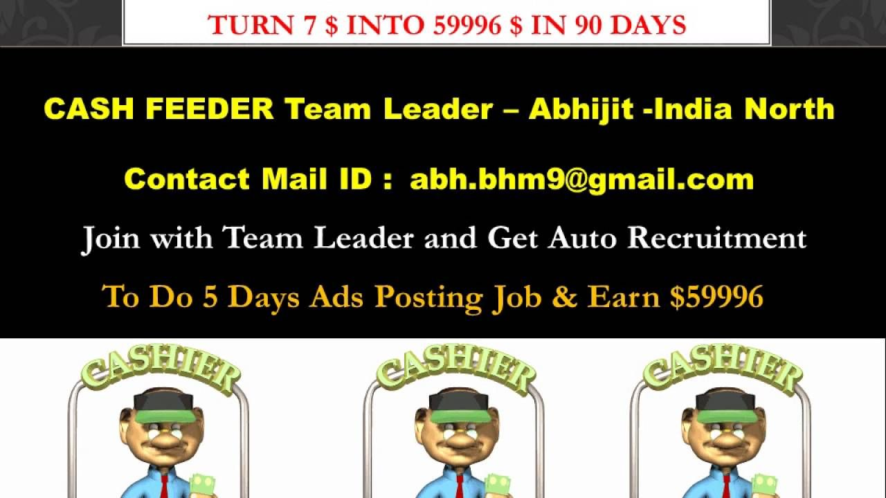 Cash Feeder Ads Post Online Job North India Team Leader