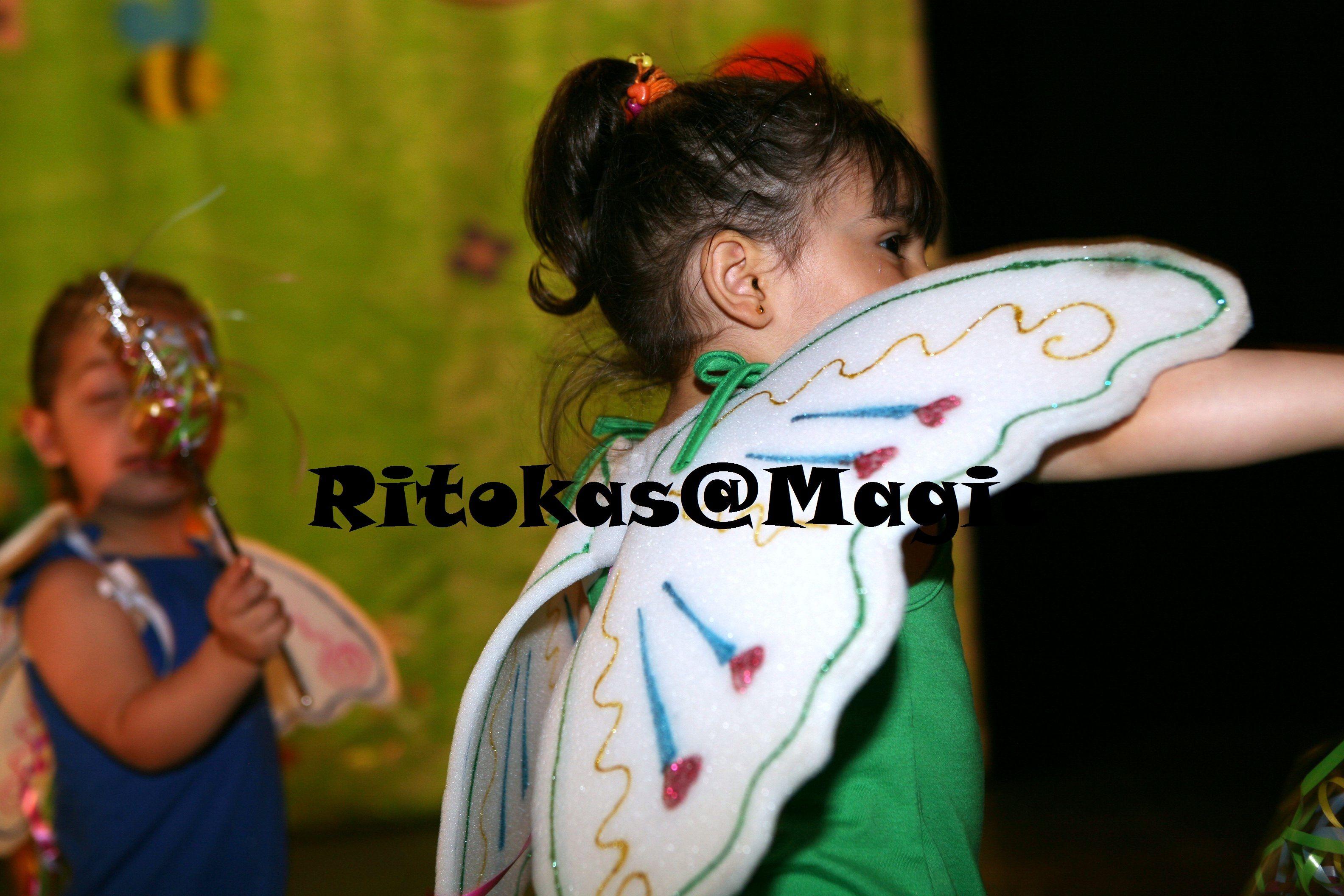 Festa Final - Meninas eram as fadinas das cores, as asas feitas de espuma e decoradas com glitters