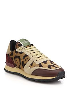 Valentino Leather Sneakers With Calf Hair in . UxJ6Qv