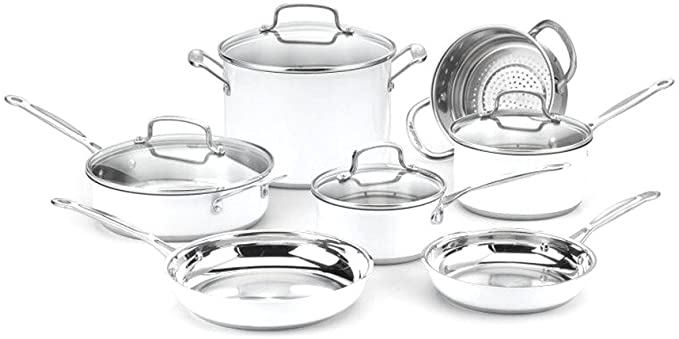 Amazon Com Cuisinart Chef S Classic Stainless Color Series 11 Piece Set White White Kitchen D Cookware Set Cookware Set Stainless Steel Classic Cookware Cuisinart 11 piece cookware set