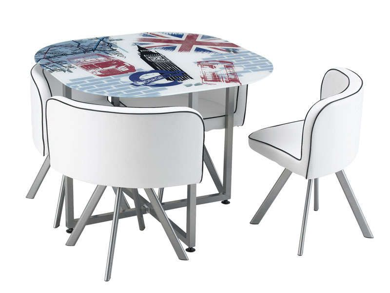 Set 1 table + 4 chaises UNION - Vente de Ensemble table et chaise - Conforama Tables De Cuisine