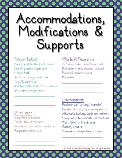 Special Education Accommodations >> Organization Binder Iep Accommodations Cheat Sheet
