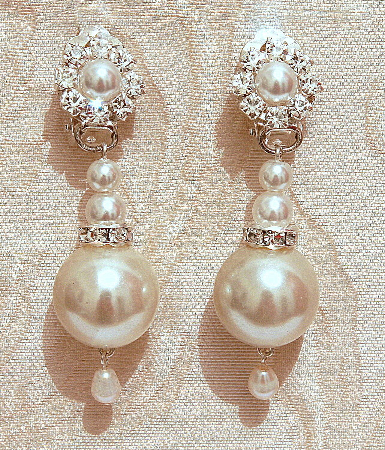 Pearls bridal earrings silver wedding chandelier earrings vintage pearls bridal earrings silver wedding chandelier earrings vintage wedding swarovski posts earrings ivory rhinestone crystals stud arubaitofo Choice Image