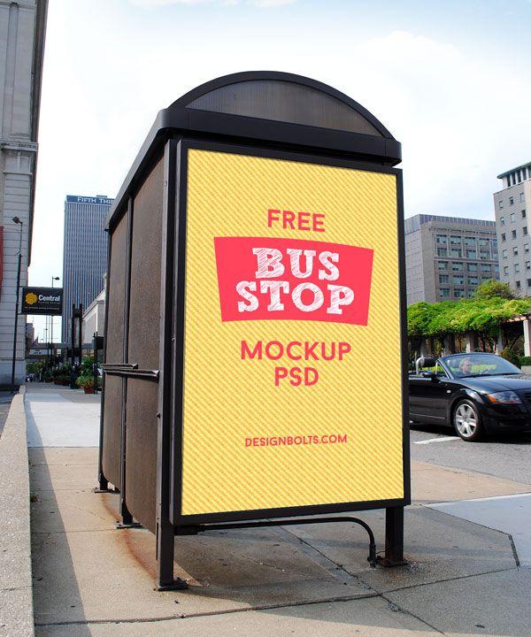 2 Free Hq Outdoor Advertising Bus Shelter Mock Up Psd Files Outdoor Advertising Mockup Psd Branding Mockups