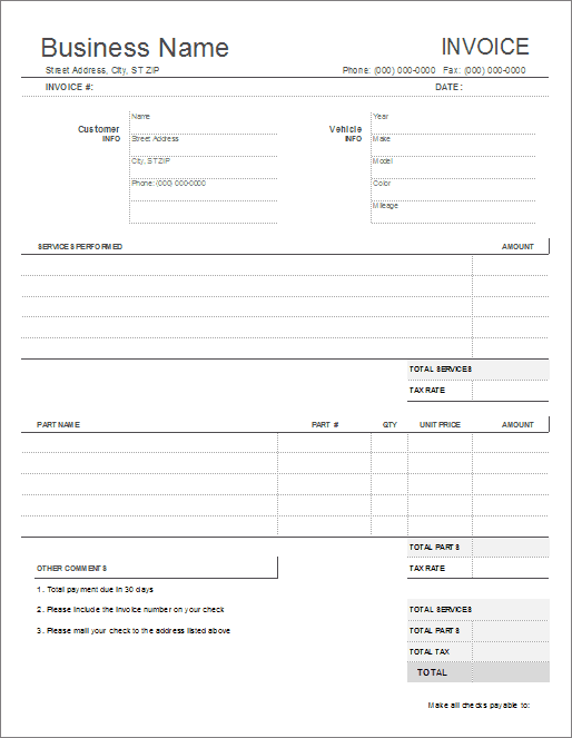 Auto Repair Invoice Template For Excel Automotive Repair Order - Free invoice templates pdf american girl doll store online