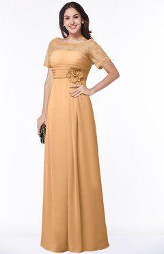 b3f3687ba4b0 ColsBM Amanda Apricot Traditional Short Sleeve Zip up Chiffon Floor Length  Flower Bridesmaid Dresses