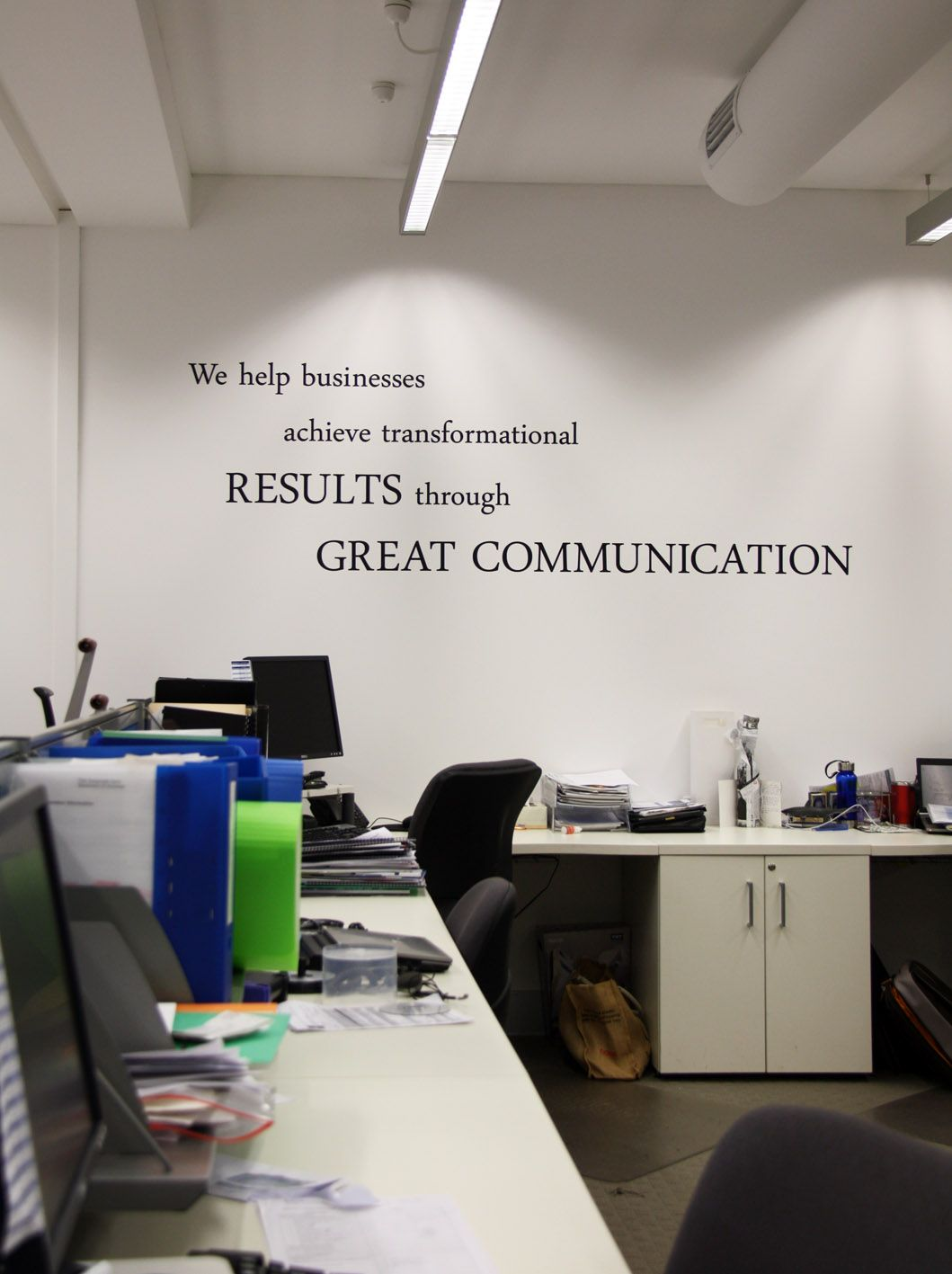 Collection of wall quotes throughout office design for Office interior design quotes