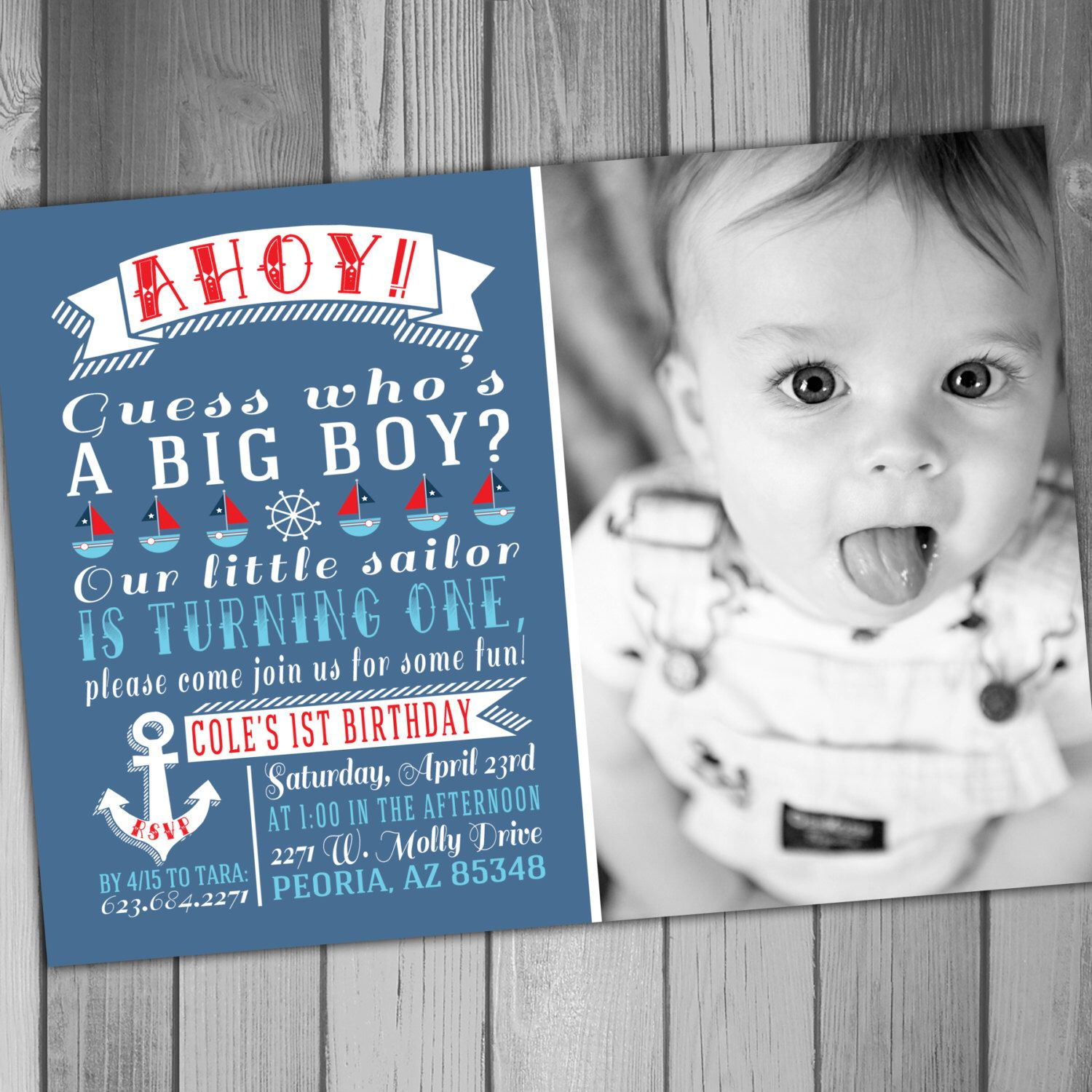 Nautical Birthday Invitation, Sailing Birthday, Nautical 1st ...