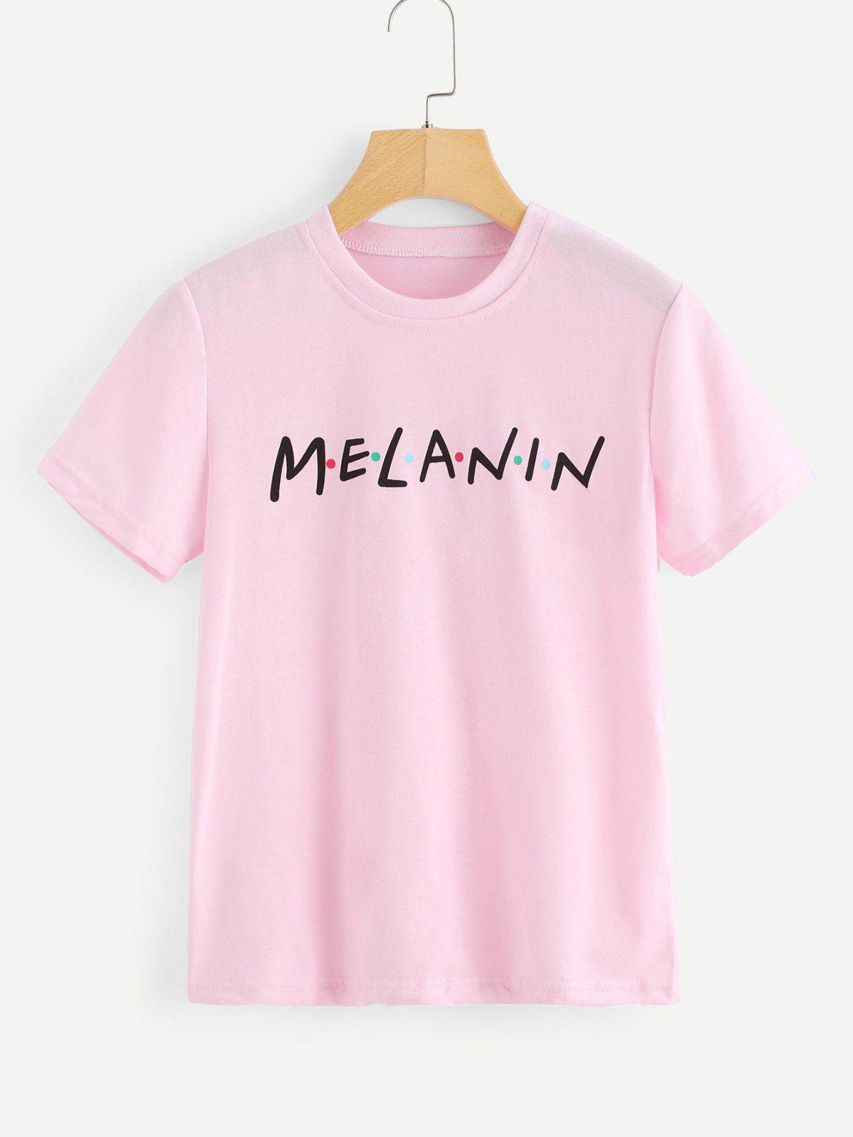 c391e4123b1471 Letter Print Melanin T-Shirt | c l o t h e s ♀ | Melanin shirt ...