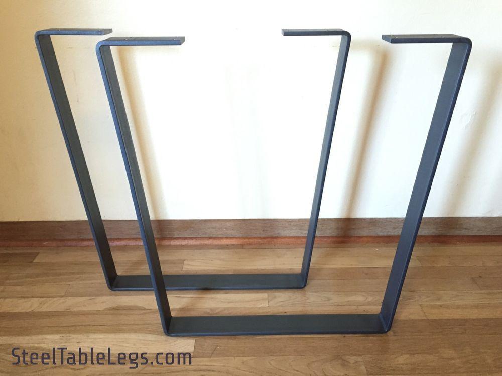 Metal Dining Table Legs W Clear Coat Steel Flatbar Modern Trapezoid