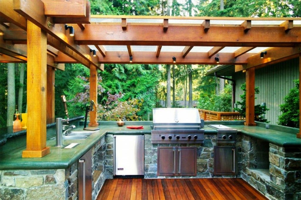 Diy Outdoor Kitchen Kits Wood And Glass Canopy Spotlight