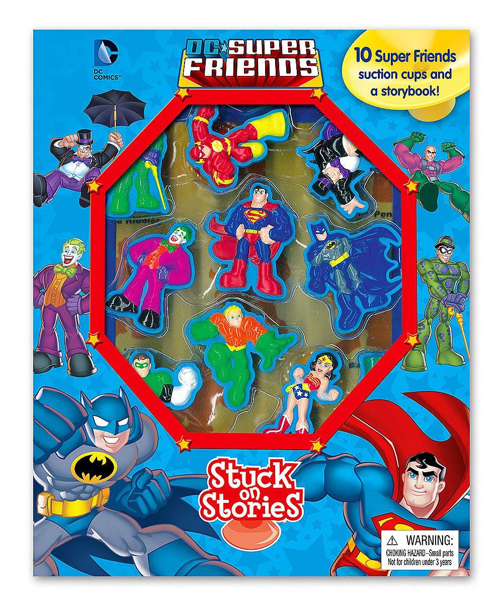 Dc super friends stuck on stories board book set zulily