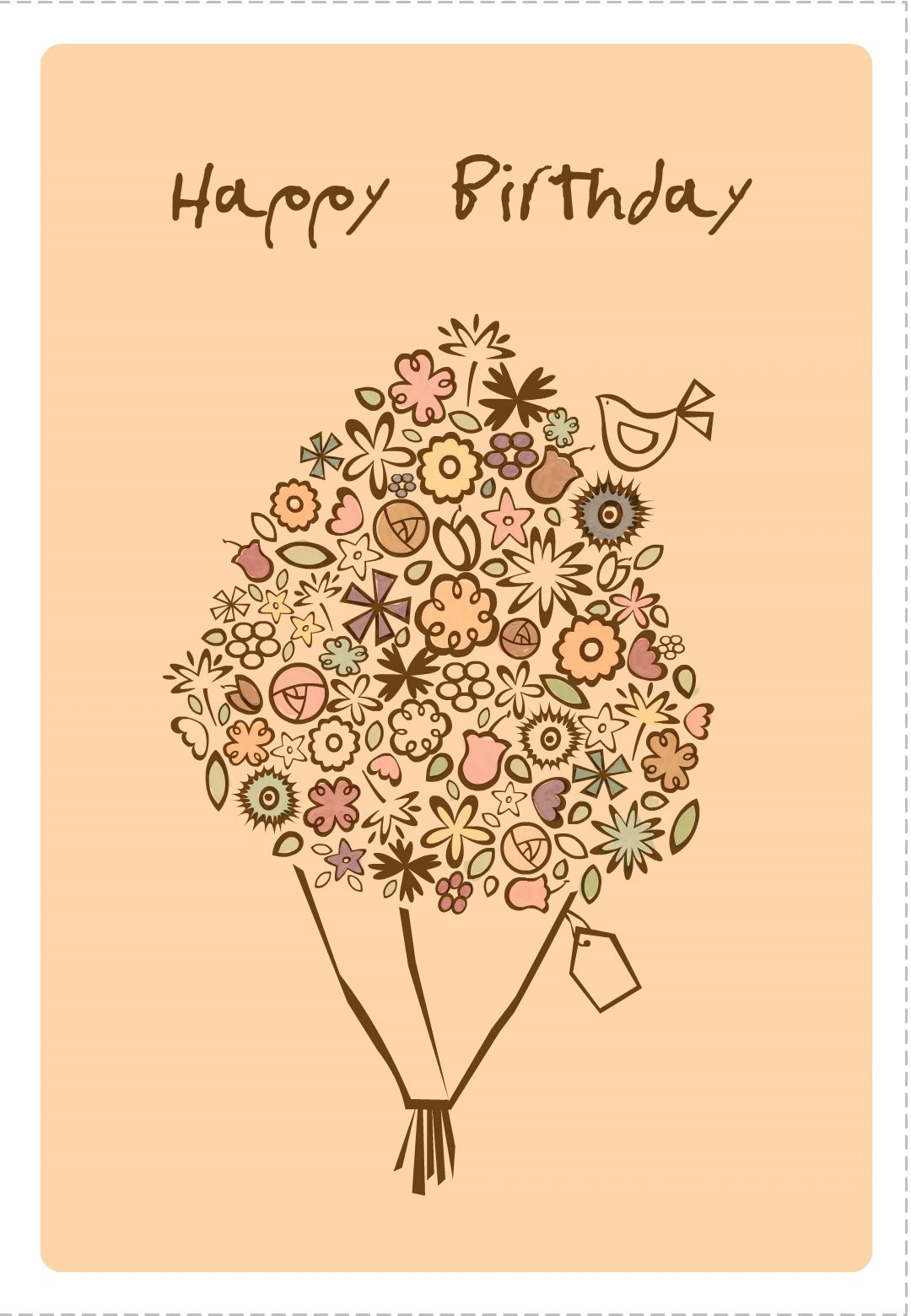 Free Printable Happy Birthday Bouquet Greeting Card