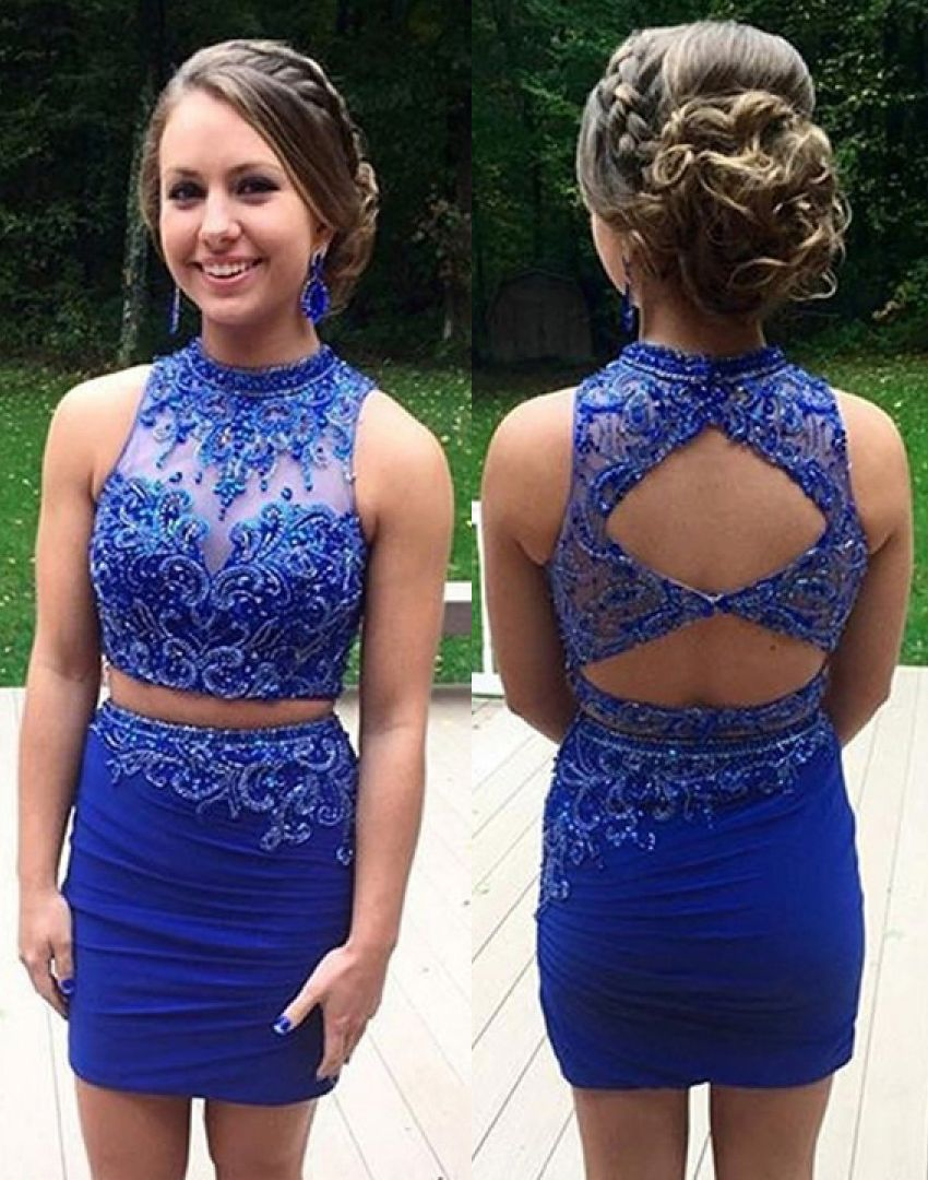 64aa863cb5 Two-Piece Sheath Appliques Beading Short Royal Blue Chiffon Homecoming  Dress  veenrol two piece homecoming dresses