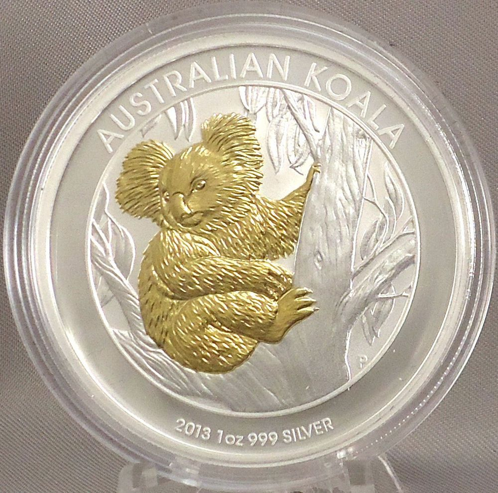 Details About 2013 1 Koala Bear 1 Oz Silver Selective Gold Plated Specimen Coin Perth Mint Coins Coin Collecting Koala