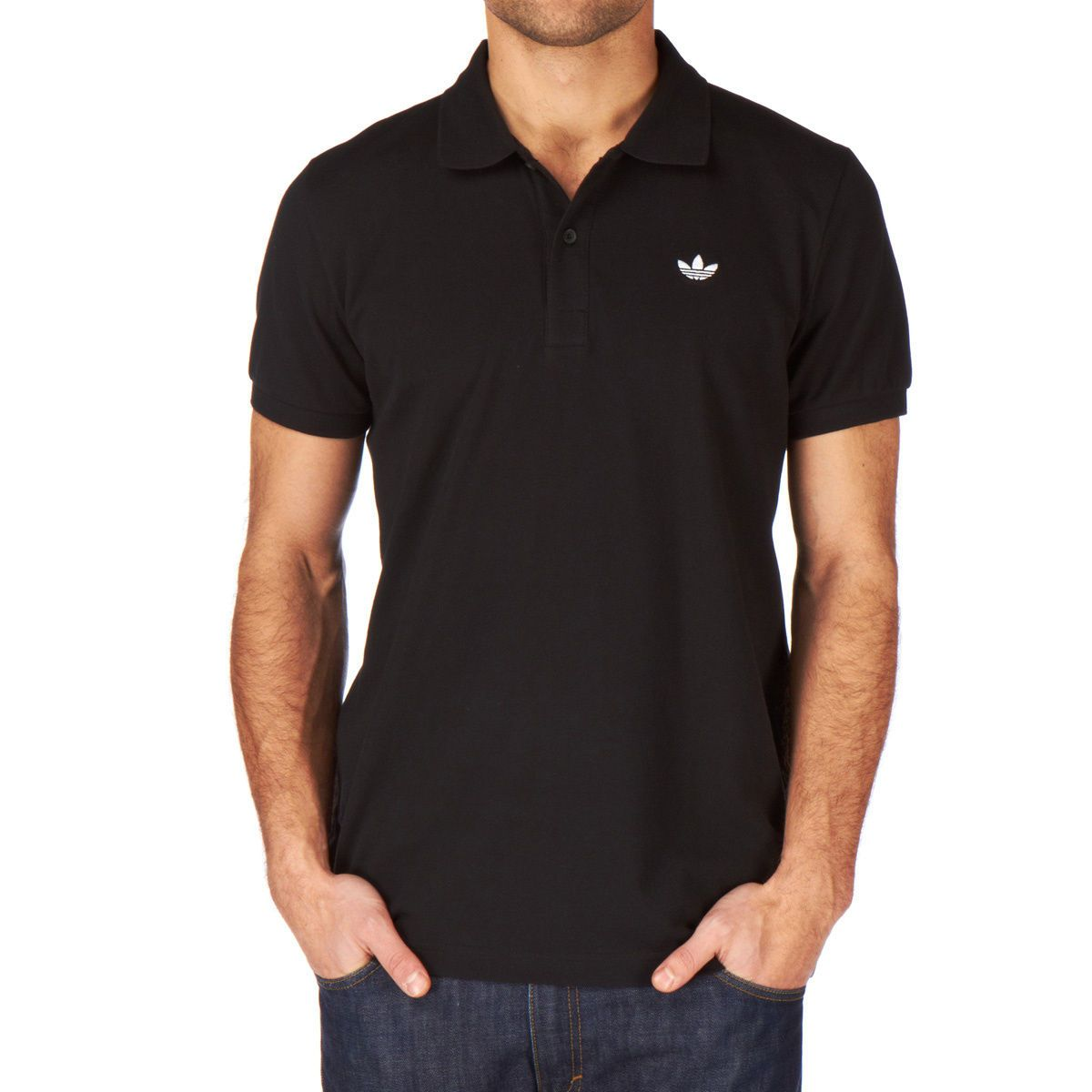 Branded golf shirt adidas in black color polo shirts for Black golf polo shirt