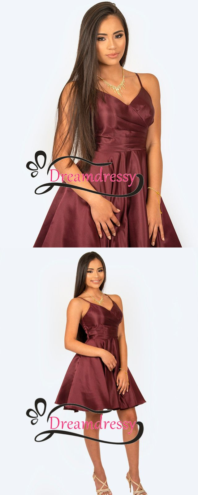 Cute short burgundy homecoming dress from dreamdressy prom