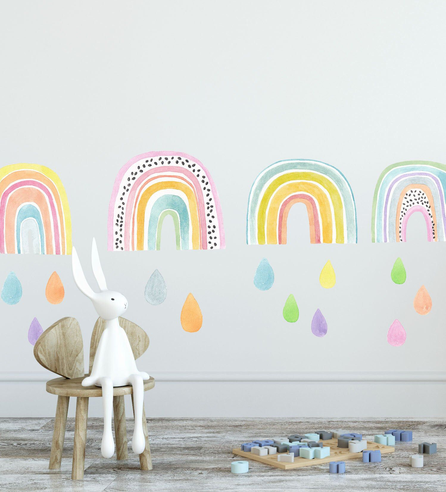 Watercolor Rainbow Wall Decal Removable Fabric Wall Decal Girls