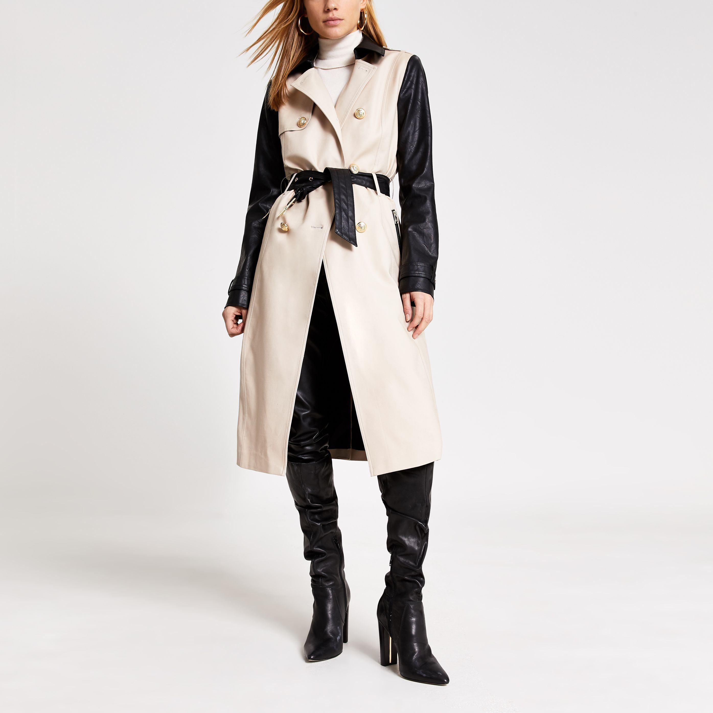 River Island Womens Beige faux leather blocked belted ...