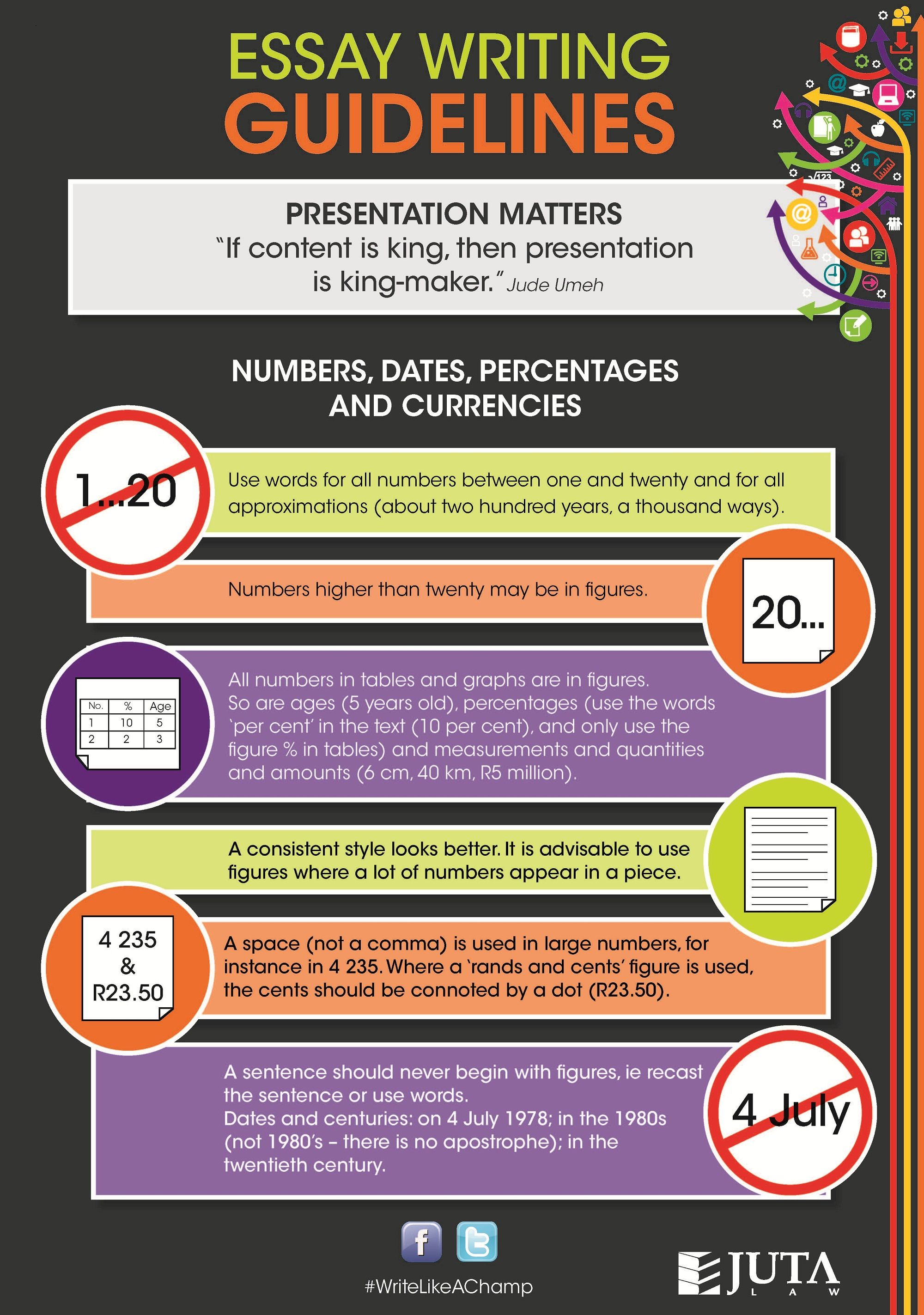 when writing an essay presentation matters here is how to make infographic on numbers dates percentages and currencies guidelines writelikeachamp