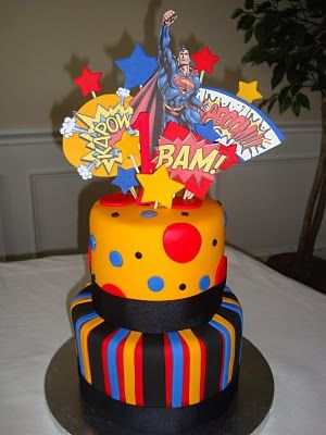 Love this idea not the superman part but the simple cake with an