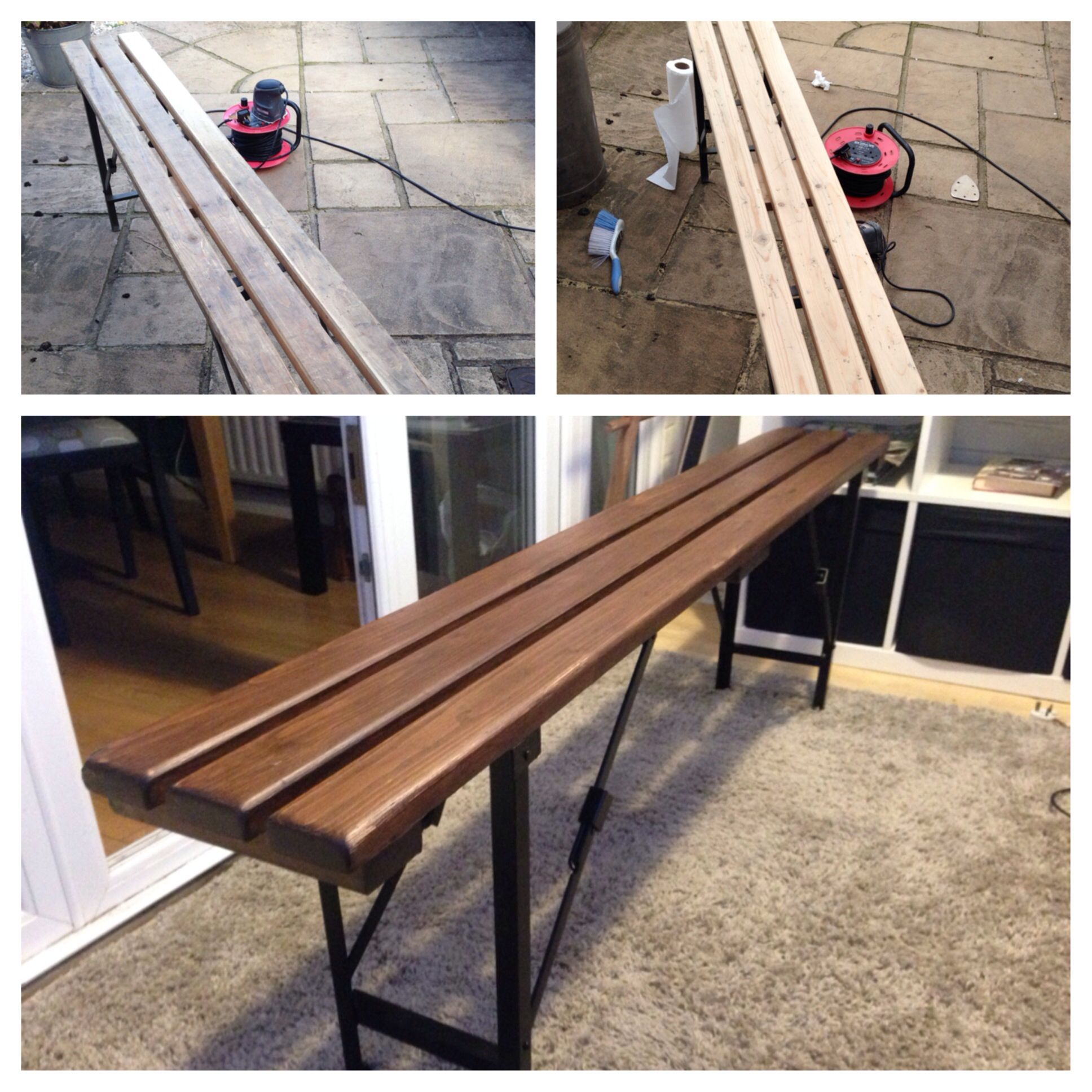 Upcycled ex-army wooden bench. Sanded and stained with Ronseal ...