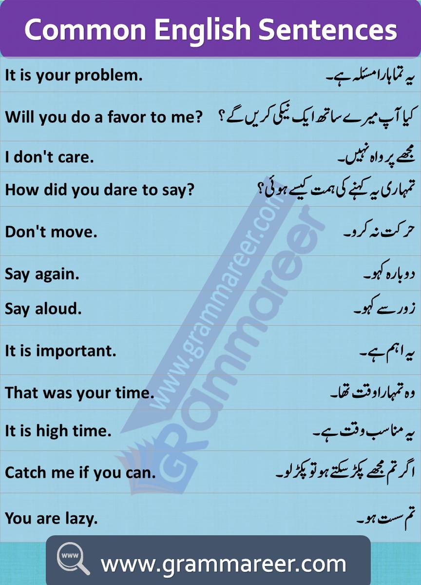 English To Urdu Sentences Pdf Spoken English Course In Urdu Basic English Through Urdu Aprender Ingles Idiomas Ingles