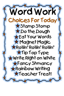 First Grade Wow: Daily Five Word Work Choice Ideas. can use with daily 5. link on site to google doc for activities