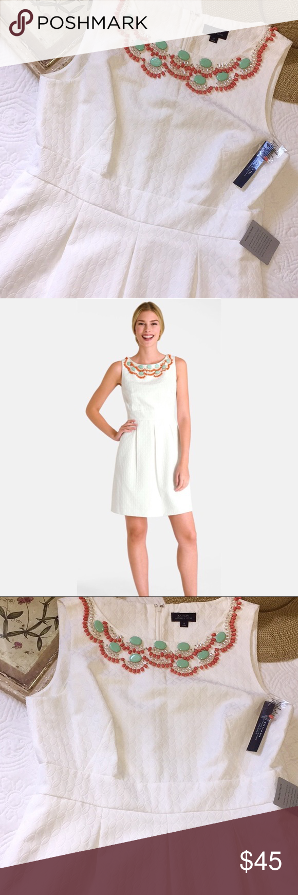 Nwt Tahari Asl Beaded Fit And Flare Dress Fit And Flare Dress Fit And Flare Clothes Design [ 1740 x 580 Pixel ]