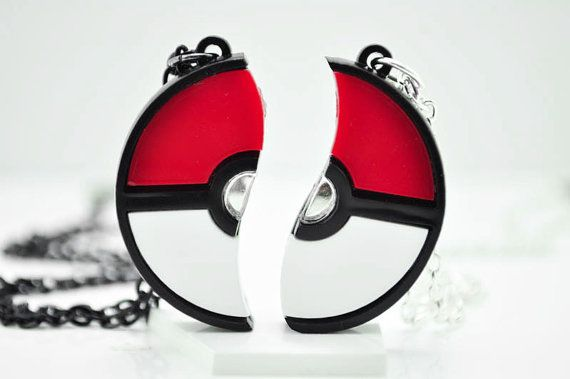 Pokeball Friendship Necklace Pokemon Cosplay Pendant Custom Engraving *Limited Time Discount* on Etsy, $20.00
