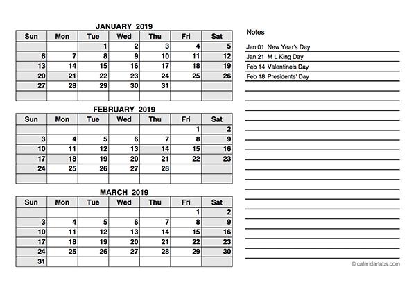 2019 Q1 printable calendar | 2019 Calendars | Quarterly ...