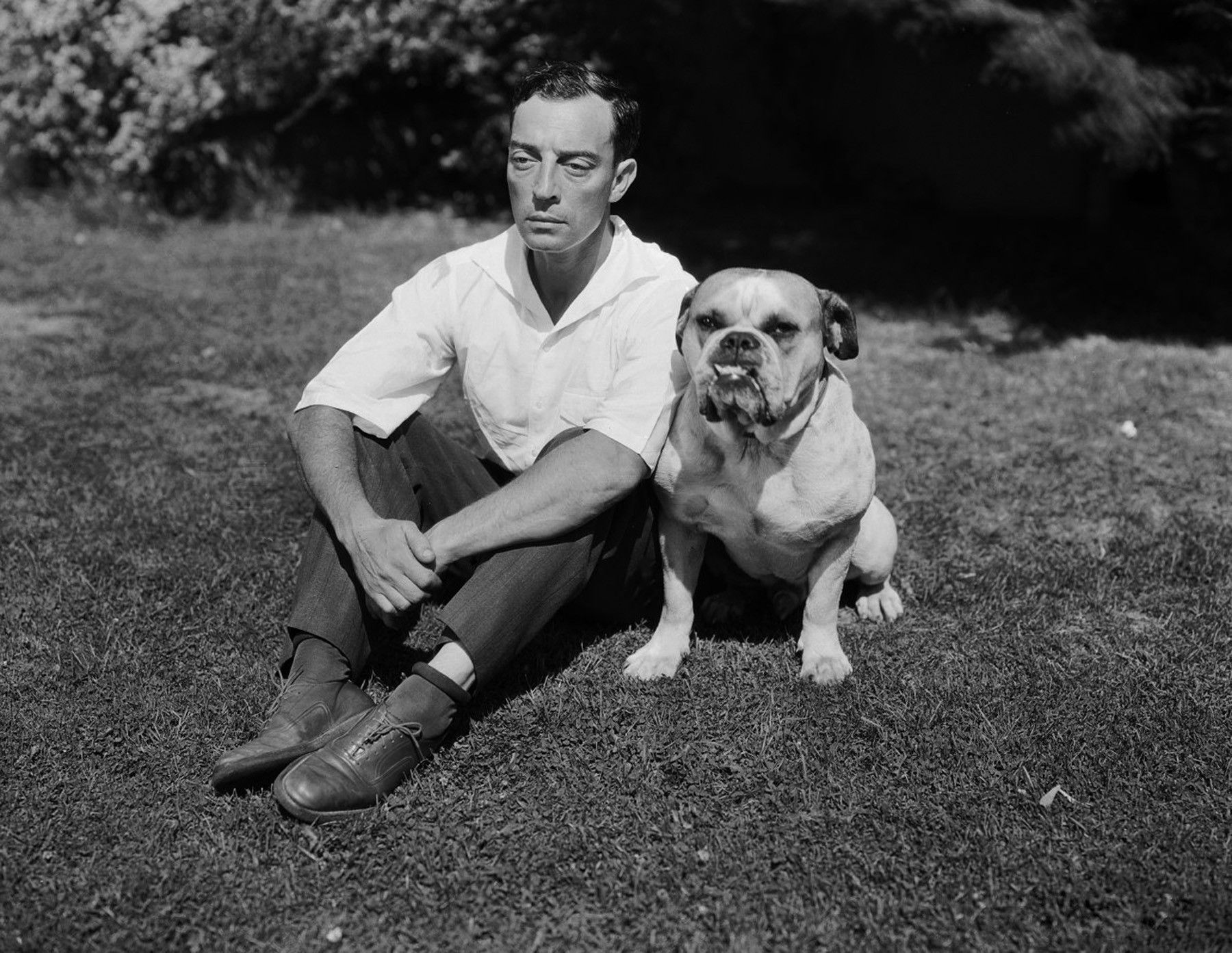 Buster Keaton... with an ugly dog.