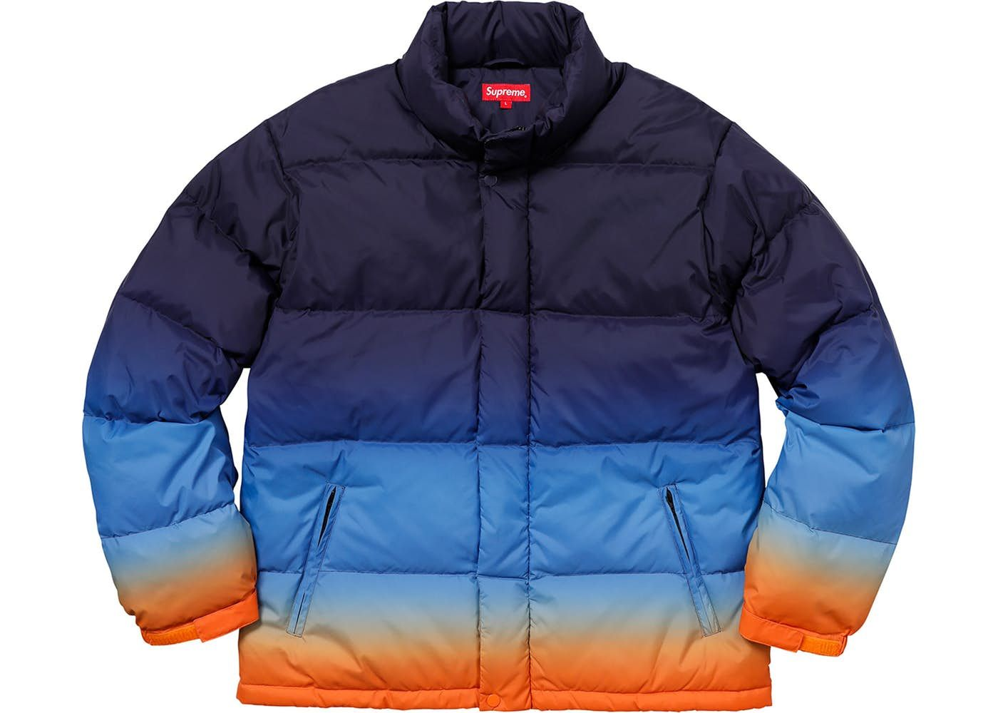Supreme Gradient Puffy Jacket Navy Puffy Jacket Jackets Blue Puffer Jacket [ 1000 x 1400 Pixel ]
